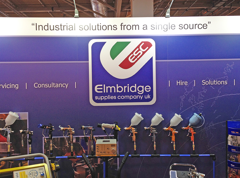 Elmbridge Supplies Company Exhibition Stand with Spray Gun display