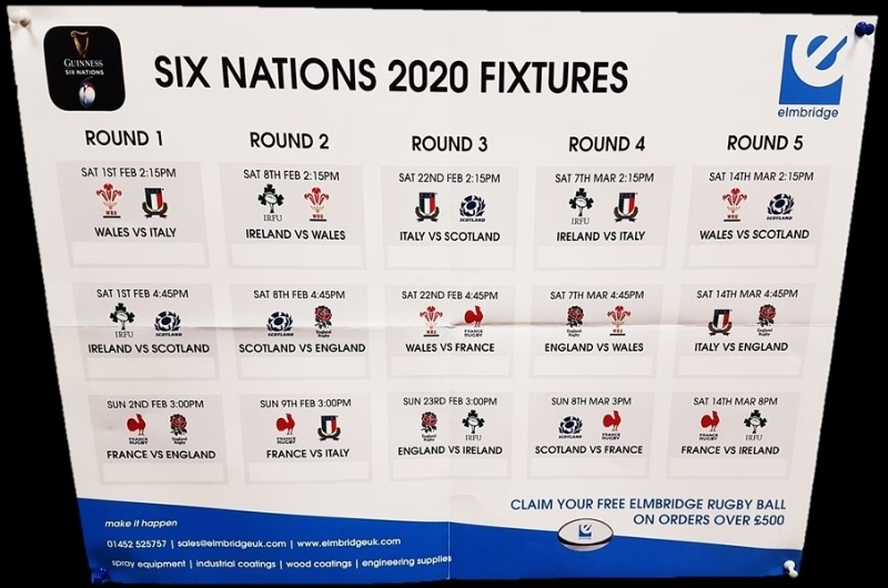 Six Nations Fixture Poster