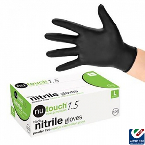 Nu-Touch Disposable Black Nitrile Powder-Free Gloves
