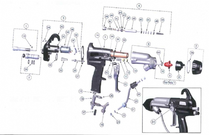 Ferrule, Front and back 1/4 Tubes for RansFlex Spray Guns