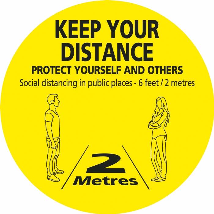 Keep Your Distance - Floor Stickers Yellow/Black Text 450mm Dia. Round