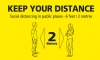 Keep Your Distance - Floor Stickers Yellow/Black Text 300x500mm Rectangle