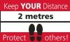 Keep Your Distance - Floor Stickers Red/White/Black 300 x 500mm Rectangle