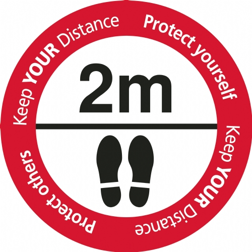 Keep Your Distance - Floor Stickers Red/White/Black 450mm Dia Round