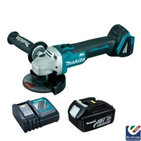Makita DGA454 115mm 18v LXT Cordless Brushless Angle Grinder with 2 x 4Ah Li-ion Batteries