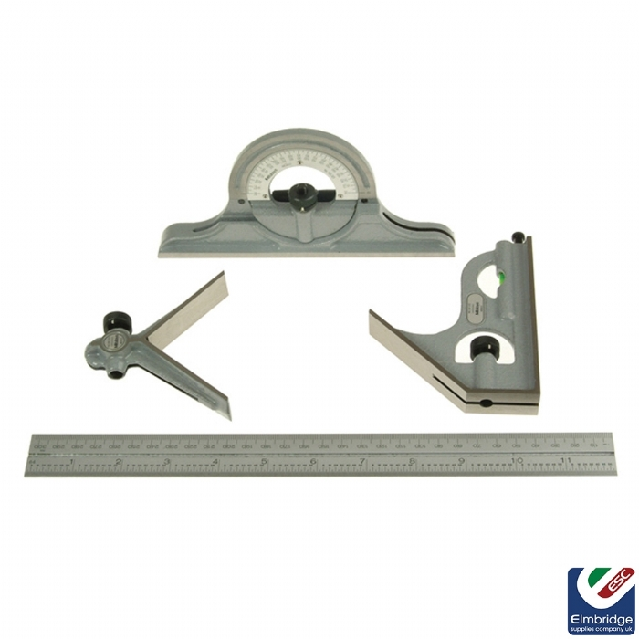 12'' Combination Set including square, centre and reversible protractor heads and blade.