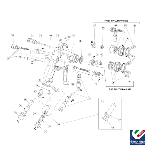 Twist Tips / Nozzles for Binks AA4400M Air Assisted Airless Spray Guns